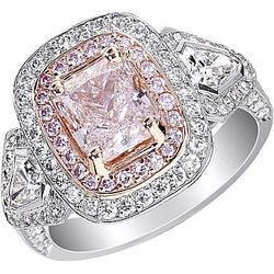 1.53 ct. Natural Light Pink Radiant Diamond Ring in Platinum & 18K Pink Gold - 1.50 ctw.