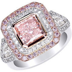 2.02 ct. Fancy Pink Radiant Diamond Ring with Pink Pave in Platinum & 18K Pink Gold - 1.28 ctw.