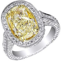 5.15 ct. Fancy Yellow Oval Vintage Platinum & 22K Yellow Gold Diamond Ring - 2.60 ctw.