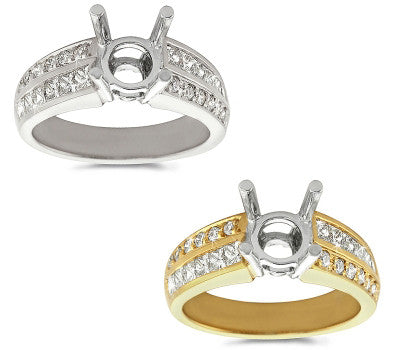 Channel and Pave Diamond Set Engagement Ring - 0.70 ctw.
