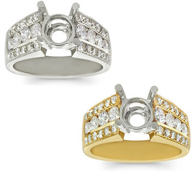 Channel and Pave Diamond Set Ring - 1.05 ctw.