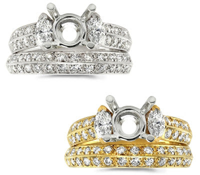 Marquis and Pave Diamond Wedding Set - 1.10 ctw.