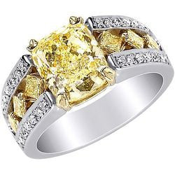 4.76 ct. Fancy Yellow Cushion Cut Diamond Ring in Platinum & 22k Yellow Gold with Princess & Pave Rows - 1.06 ctw.
