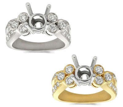 Three Musketeers Bezel and Pave Set Ring - 0.85 ctw.