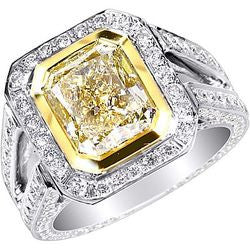 4.02 ct. Fancy Light Yellow Radiant Cut Double Shank Platinum & 22K Yellow Gold Diamond Ring - 2.24 ctw.