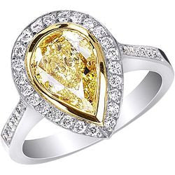 1.50 ct. Fancy Yellow Pear-Shaped Diamond Ring in Platinum & 22K Yellow Gold - 0.34 ctw.