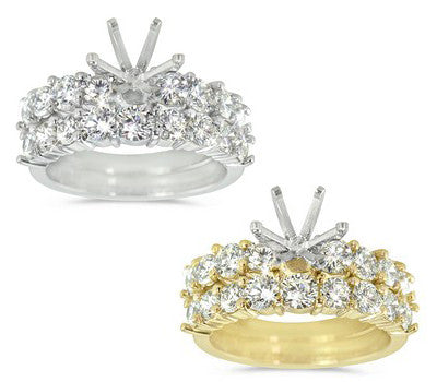 Dazzling Bright Wedding Set for a Round Center Stone with Round Prong Set Diamonds - 2.00 ctw.