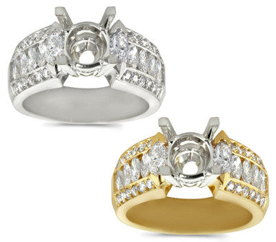 Marquis & Pave Diamond Semi-Mount Ring - 1.10 ctw.