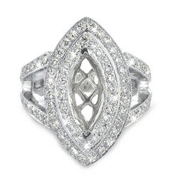Double Bridge Pave Set Diamond Ring for a Marquise Center Stone - 1.20 ctw.