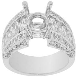 Marquis & Pave Diamond Semi-Mount Ring - 1.95 ctw.