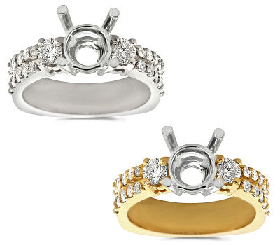 Double the Fun Prong Set Round Diamond Mounting - 0.65 ctw.