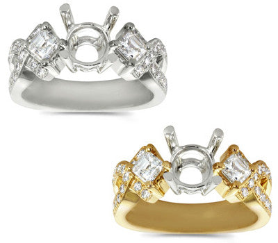 XO Asscher Round Diamond Ring - 0.87 ctw.