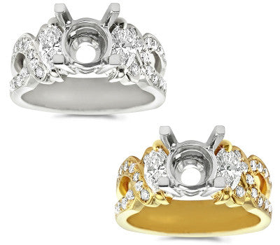 Marquise and Round Diamond Setting - 0.85 ctw.