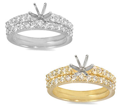 Prong-Set Round Diamond Ring and Band Set - 0.65 ctw.