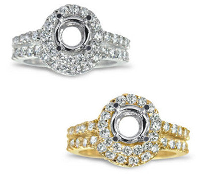 Curved Micro Prong-Set Round Diamond Wedding Set - 0.90 ctw.