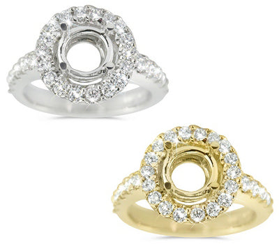 Extra Feminine Prong Set Engagement Semi-Mount with a Round Halo - 0.80 ctw.