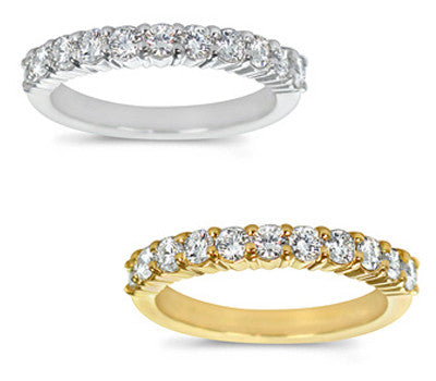 Stylish Prong-Set Round Diamond Band - 0.70 ctw.