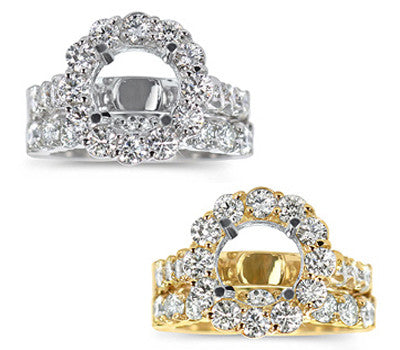 Large Stylish Prong-Set Round Diamond Wedding Set - 2.15 ctw.