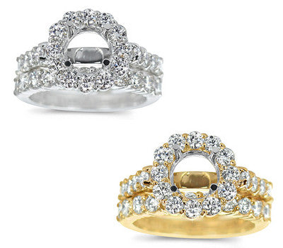Stylish Prong-Set Round Diamond Wedding Set - 1.70 ctw.