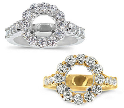 Stylish Prong-Set Round Diamond Ring - 1.10 ctw.