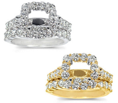 Chic Prong-Set Round Diamond Wedding Set - 1.70 ctw.