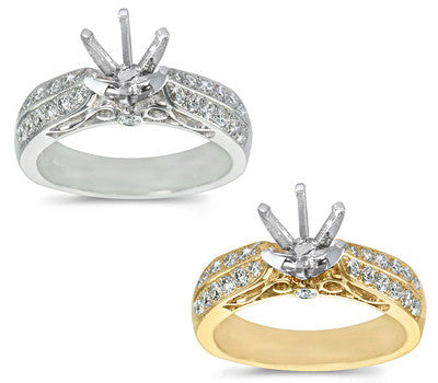 Exquisite Modern Pave-Set Round Diamond Ring - 0.50 ctw.