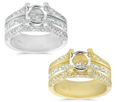 Sophisticated Triple Row Diamond Semi-Mount with Princess and Round Cut Stones - 1.40 ctw.