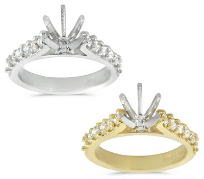 Cathedral Shank Micro Prong Set Engagement Semi-Mount for a Round Center Stone - 0.50 ctw.