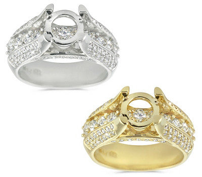 Sophisticated Triple Row Diamond Semi-Mount with Round Cut Stones - 1.10 ctw.