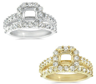 Frosty Delicate Prong Set Diamond Wedding Set with a Square Halo - 1.67 ctw.