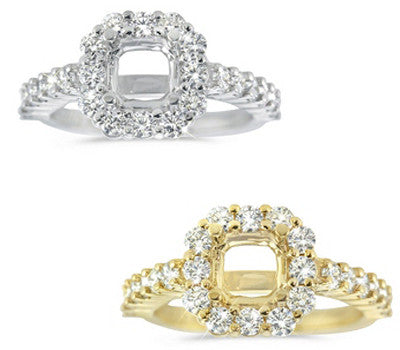 Exquisite Micro Prong and Prong Set Wedding Band and a Square Halo Engagement Ring - 1.80 ctw.