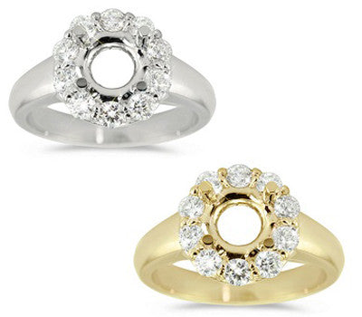 Elegant Round Halo With Polished Cathedral-Rounded Shank Engagement Ring - 0.52 ctw.