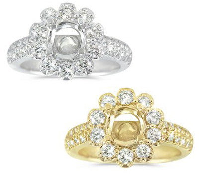 Very Feminine Double Row Pave Wedding Set with a Flower Halo Engagement Ring - 1.40 ctw.