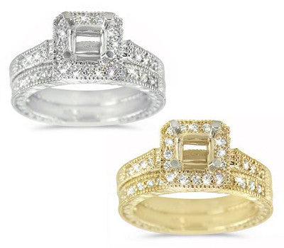 Ornate Diamond Wedding Set with Square Halo Engagement Ring - 0.40 ctw.