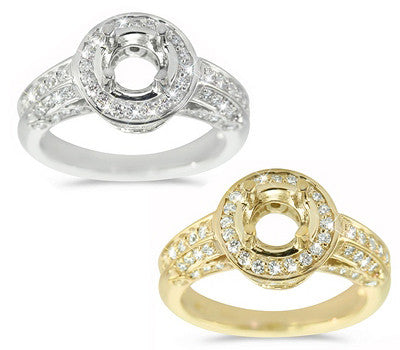 Pave-set Engagement Ring With A Diamond Halo And Bezel Set Diamond Accents - 0.70 ctw.