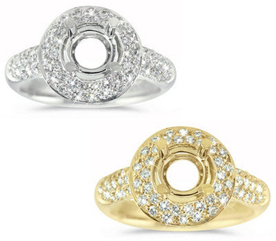 Pave-set Engagement Ring with a Double Row Diamond Halo - 0.60 ctw.