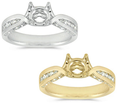 Modern Channel and Pave Set Slight Twist Design Ring - 0.40 ctw.