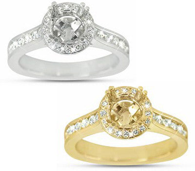 Dainty Channel And Pave Set Diamond Engagement Ring With A Round Halo - 0.55 ctw.