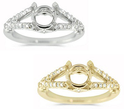 Delicate Micro-Prong And Bezel Set Double Shank Ring - 0.41 ctw.