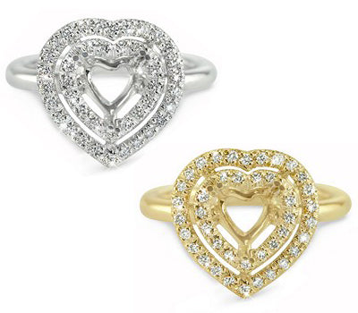 Heart in a Heart Prong Set Diamond Engagement Semi-Mount - 0.20 ctw.