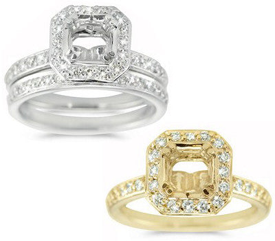 Delicate Pave Set Wedding Semi-Mount for a Square Center Stone - 0.60 ctw.
