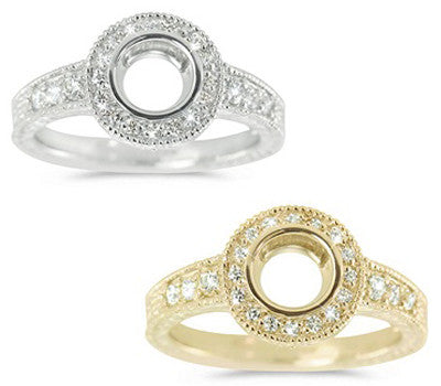 Round Milligrain Halo Pave Set Engagement Semi-Mount - 0.33 ctw.