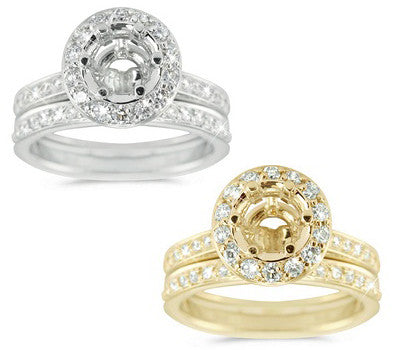 Chick Pave Set Diamond Engagement Wedding Semi-Mount with a Round Halo - 0.86 ctw.