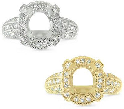 Delightful Multi-Row Pave Set Engagement Semi-Mount With An Oval Halo - 0.69 ctw.