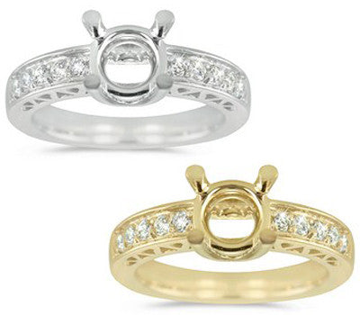 Simply Elegant Engagement Semi-Mount With Round Cut, Pave Set Diamonds - 0.24 ctw.