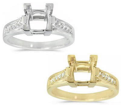 Elegant Engagement Semi-Mount with Pave Set Hand Selected Round Cut Diamonds - 0.16 ctw.