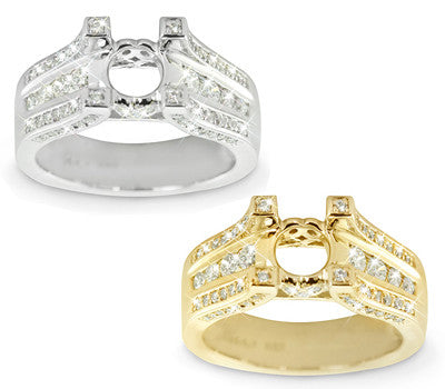 Triple Row Channel Set Diamond Ring - 0.69 ctw.