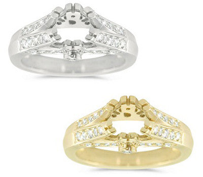 Classic Double Bridge Engagement Ring with a Six Splits Prong Center Stone Setting - 0.52 ctw.