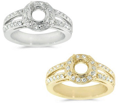 Round Bezel Halo Double Shank Engagement Ring - 0.55 ctw.