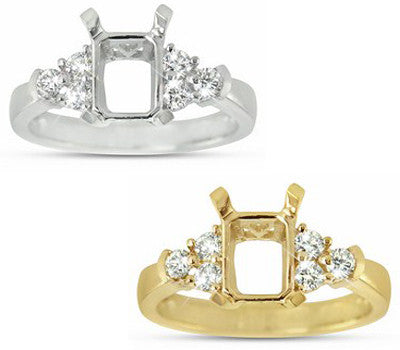 Elegant Engagement Semi-Mount For A Rectangular Center Stone Winged By Three Round Side Stones On Each Side - 0.34 ctw.